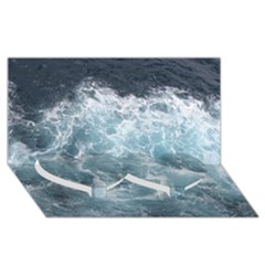 Ocean Waves Twin Heart Bottom 3d Greeting Card (8x4)