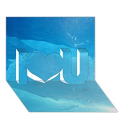 Light Turquoise Ice I Love You 3d Greeting Card (7x5)