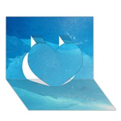 Light Turquoise Ice Heart 3d Greeting Card (7x5)