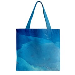 LIGHT TURQUOISE ICE Zipper Grocery Tote Bags by trendistuff