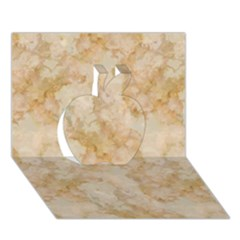TAN MARBLE Apple 3D Greeting Card (7x5)