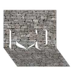 Stone Wall Grey I Love You 3d Greeting Card (7x5)