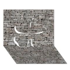Stone Wall Grey Clover 3d Greeting Card (7x5)  by trendistuff