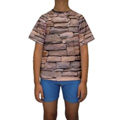 Stone Wall Brown Kid s Short Sleeve Swimwear