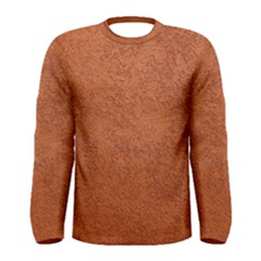 Rust Colored Stucco Men s Long Sleeve T Shirts by trendistuff