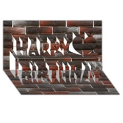 Red And Black Brick Wall Happy Birthday 3d Greeting Card (8x4)  by trendistuff