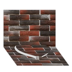 Red And Black Brick Wall Heart Bottom 3d Greeting Card (7x5)