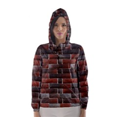 RED AND BLACK BRICK WALL Hooded Wind Breaker (Women) by trendistuff