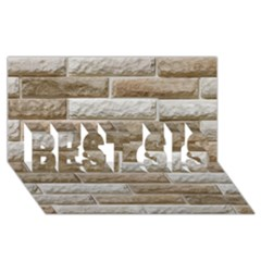 Light Brick Wall Best Sis 3d Greeting Card (8x4)  by trendistuff