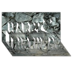 Grey Stone Pile Happy Birthday 3d Greeting Card (8x4)  by trendistuff
