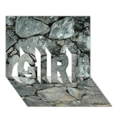 Grey Stone Pile Girl 3d Greeting Card (7x5)