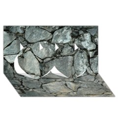 Grey Stone Pile Twin Hearts 3d Greeting Card (8x4)  by trendistuff