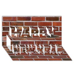 Colorful Brick Wall Happy New Year 3d Greeting Card (8x4)
