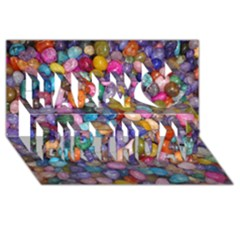 Colored Pebbles Happy Birthday 3d Greeting Card (8x4)  by trendistuff