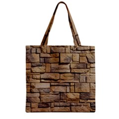Block Wall 1 Zipper Grocery Tote Bags by trendistuff