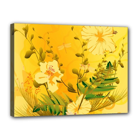 Wonderful Soft Yellow Flowers With Dragonflies Canvas 16  X 12  by FantasyWorld7