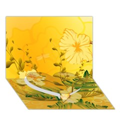 Wonderful Soft Yellow Flowers With Dragonflies Heart Bottom 3d Greeting Card (7x5)