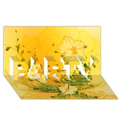 Wonderful Soft Yellow Flowers With Dragonflies Party 3d Greeting Card (8x4)