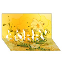 Wonderful Soft Yellow Flowers With Dragonflies Sorry 3d Greeting Card (8x4)
