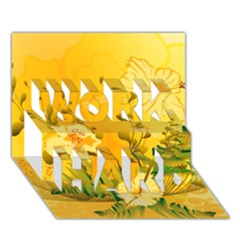 Wonderful Soft Yellow Flowers With Dragonflies Work Hard 3d Greeting Card (7x5)  by FantasyWorld7