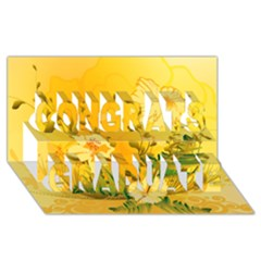 Wonderful Soft Yellow Flowers With Dragonflies Congrats Graduate 3d Greeting Card (8x4)