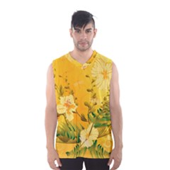 Wonderful Soft Yellow Flowers With Dragonflies Men s Basketball Tank Top by FantasyWorld7