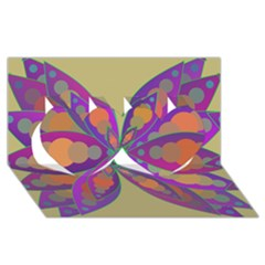 Fly Mandala Twin Hearts 3d Greeting Card (8x4)  by Valeryt