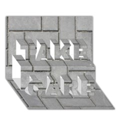 Alternating Grey Brick Take Care 3d Greeting Card (7x5)  by trendistuff