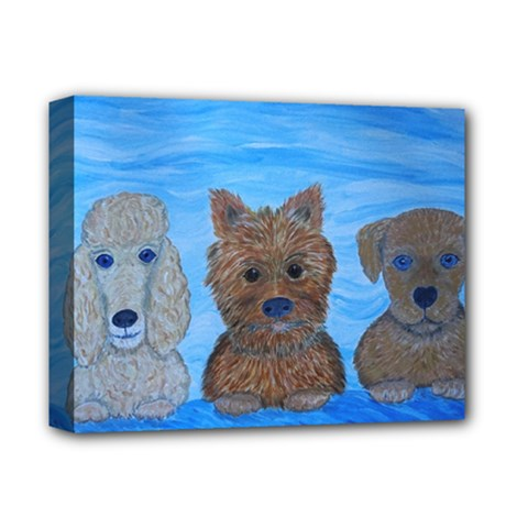 Puppy Pals Deluxe Canvas 14  X 11  (framed) by JDDesigns