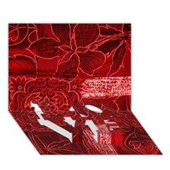 Red Patchwork Love Bottom 3d Greeting Card (7x5)