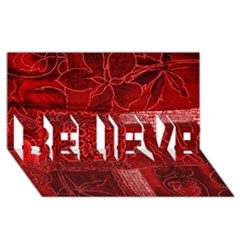 Red Patchwork Believe 3d Greeting Card (8x4)