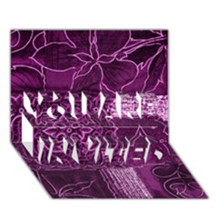 Magenta Patchwork You Are Invited 3d Greeting Card (7x5)  by trendistuff