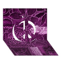 Magenta Patchwork Peace Sign 3d Greeting Card (7x5)