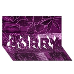 Magenta Patchwork Sorry 3d Greeting Card (8x4)
