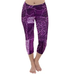 Magenta Patchwork Capri Winter Leggings