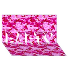 Camo Pink Party 3d Greeting Card (8x4)