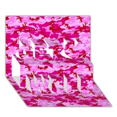 Camo Pink Get Well 3d Greeting Card (7x5)