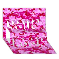 Camo Pink You Rock 3d Greeting Card (7x5)  by trendistuff