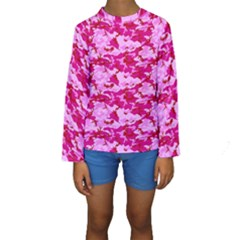 Camo Pink Kid s Long Sleeve Swimwear by trendistuff