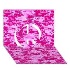 Camo Digital Pink Peace Sign 3d Greeting Card (7x5)  by trendistuff