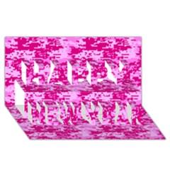 Camo Digital Pink Happy New Year 3d Greeting Card (8x4)  by trendistuff