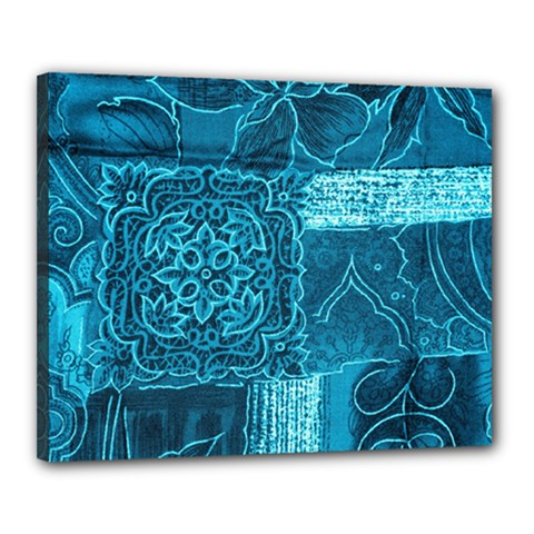 BLUE PATCHWORK Canvas 20  x 16  by trendistuff