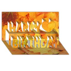 Yellow Maple Leaves Happy Birthday 3d Greeting Card (8x4)