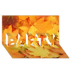 Yellow Maple Leaves Party 3d Greeting Card (8x4)  by trendistuff