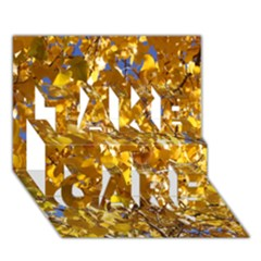 Yellow Leaves Take Care 3d Greeting Card (7x5)