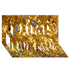 Yellow Leaves Laugh Live Love 3d Greeting Card (8x4)