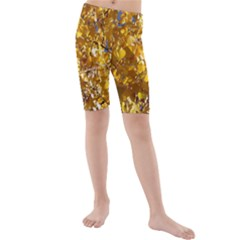 Yellow Leaves Kid s Mid Length Swim Shorts by trendistuff