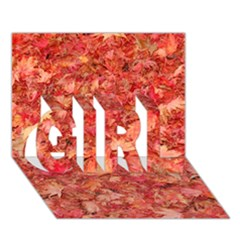Red Maple Leaves Girl 3d Greeting Card (7x5)