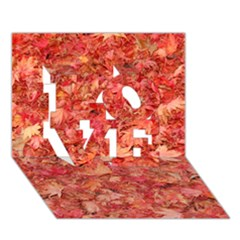 Red Maple Leaves Love 3d Greeting Card (7x5)