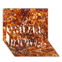 Orange Leaves You Are Invited 3d Greeting Card (7x5)